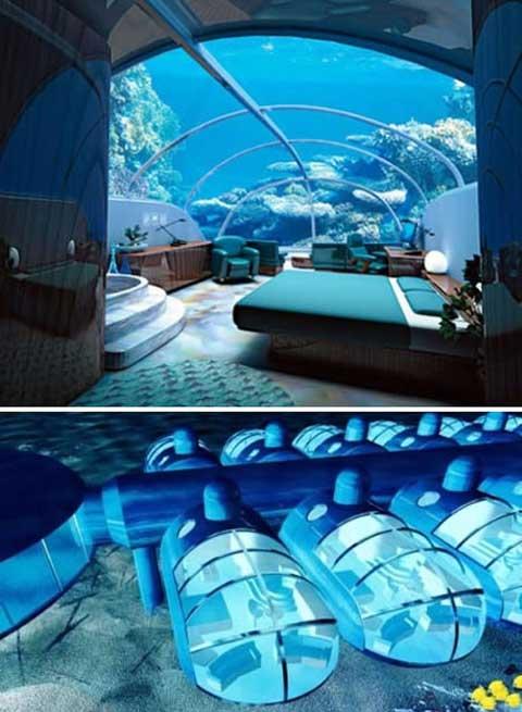 Đây là dãy phòng khách sạn Nautilus Undersea Suite tại khu